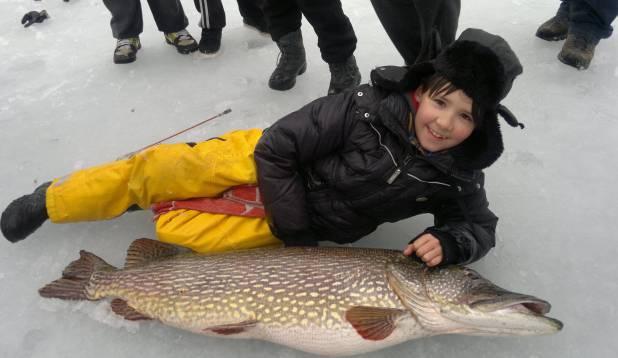 REKORDPOMM AASTAST 2012. Nikita ja tema püütud Saadjärve havi - enam kui 120cm pikk ja 16,21kg raske.