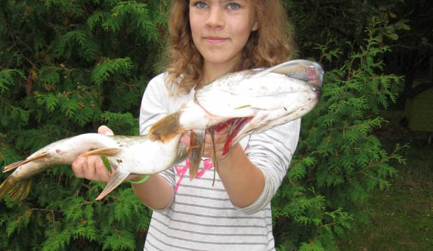 """LIIS LÕHMUS: """"Olen 12-aastane. Pildil on minu püütud haug, kelle ma püüdsin Suurest Emajõest 8. septembril. Ta oli mul hommikul unna otsas ning kaalus umbes kaks kilo. See kala oli mu rekord!"""""""