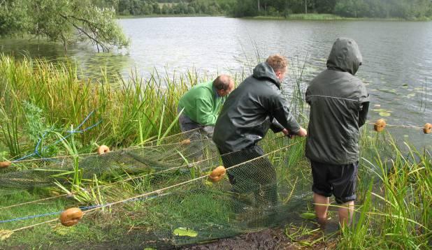 TÕMME. Kaarna järve kalastiku kohta tõe väljaselgitamine kaldanooda abil. Foto: Anu Palm.